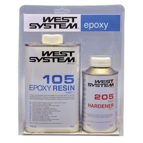 West System 1.2kg A Pack: 105 Resin + 205 Fast Hardener